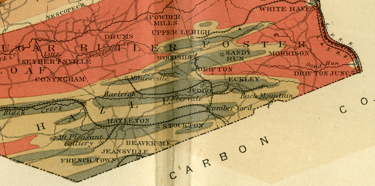 1884 geological map of Luzerne County