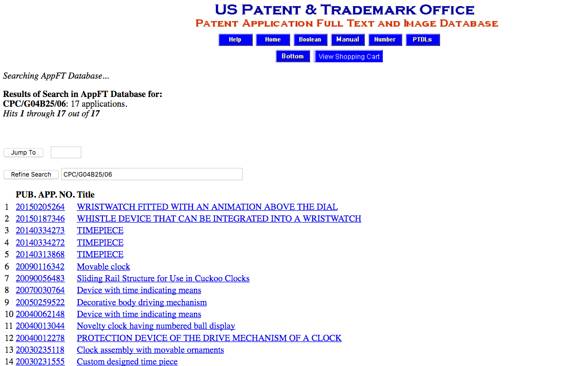 Screen Shot of the Search Results for a Search of the Patent Application Full Text and Image Database