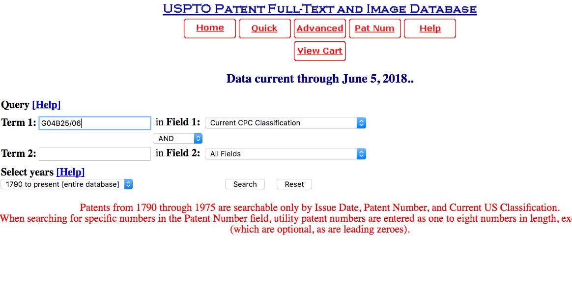 USPTO Search Query Form Prepared for a Search