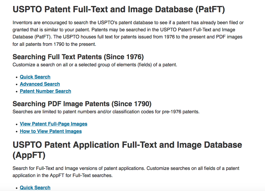 Screen Shot of Specific Area of the USPTO Search for Patents Page Focusing on Searching Full Text Patents (since 1976)