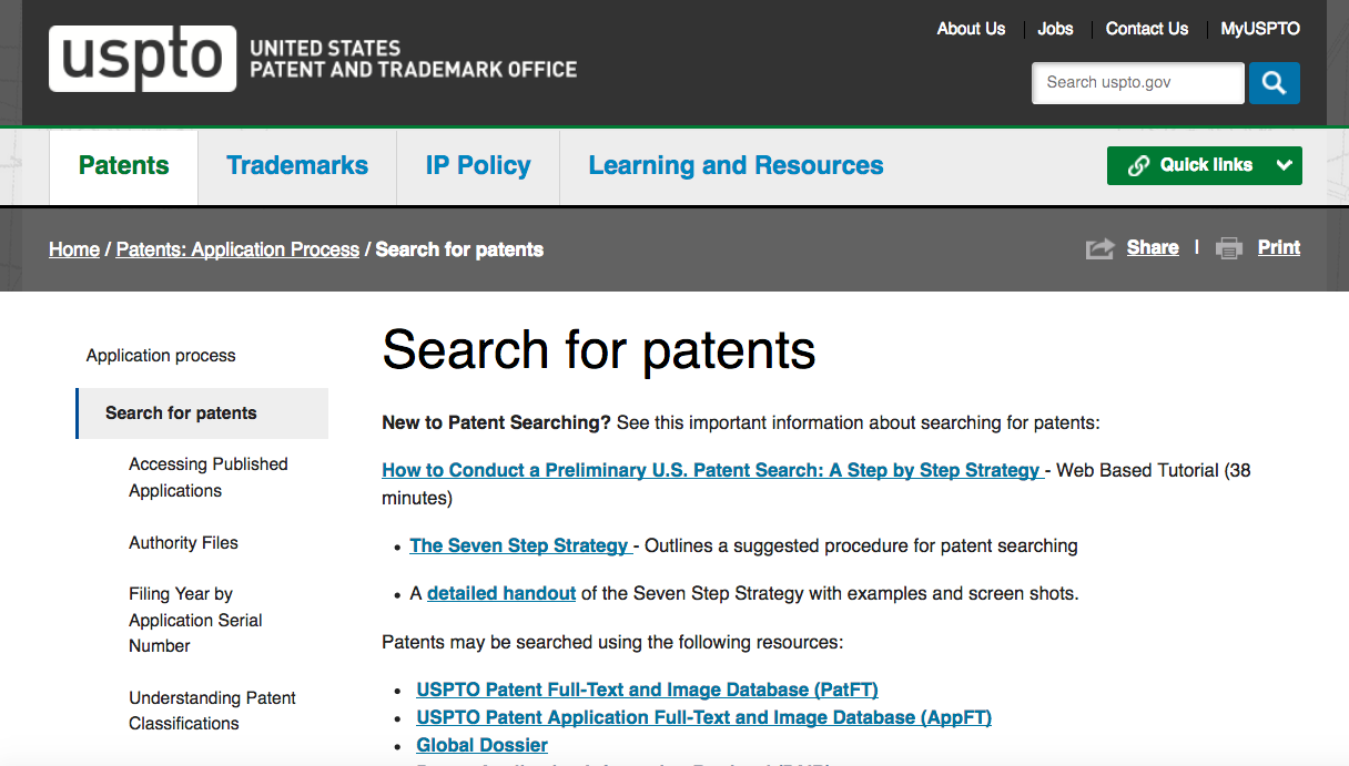 The USPTO Search for Patents Page