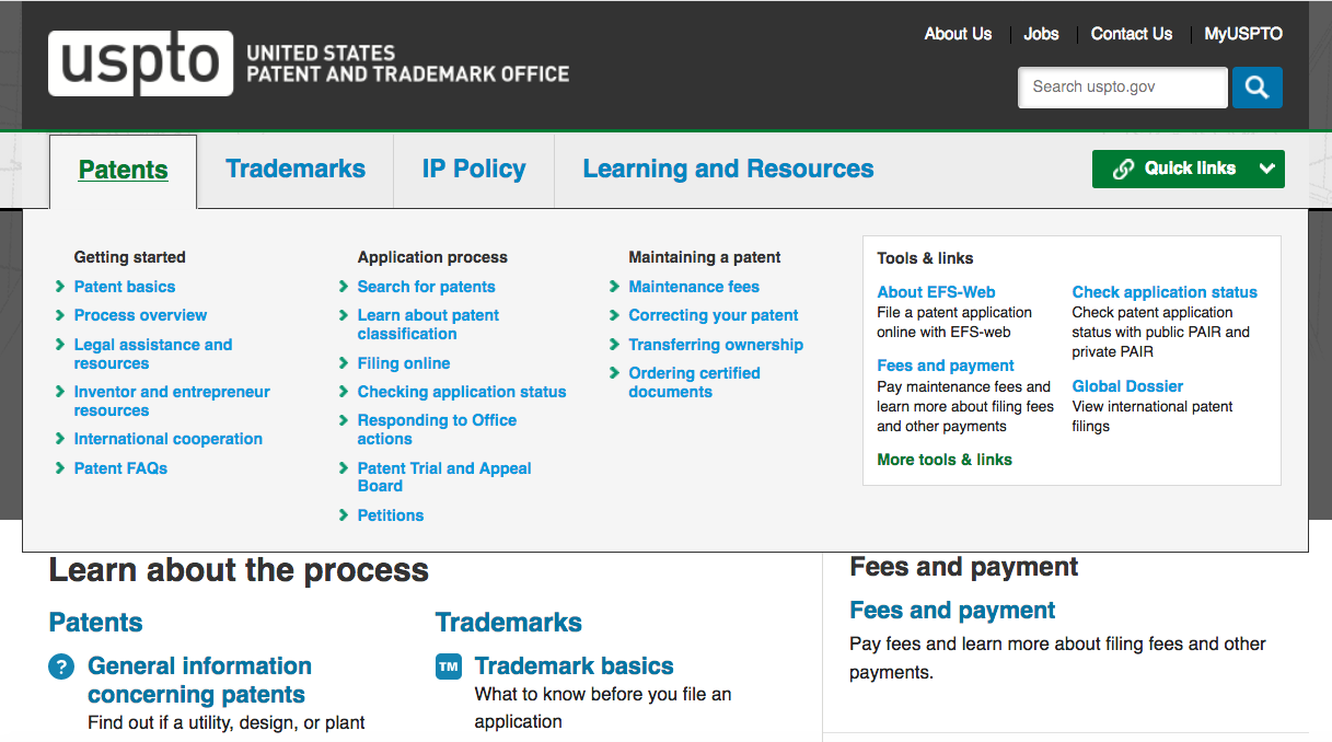 "Screen Shot of the USPTO Search Page While Hovering Over ""Patents"""