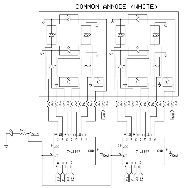 10 2 x Common anode 7 segment LED s with 74LS247 drivers