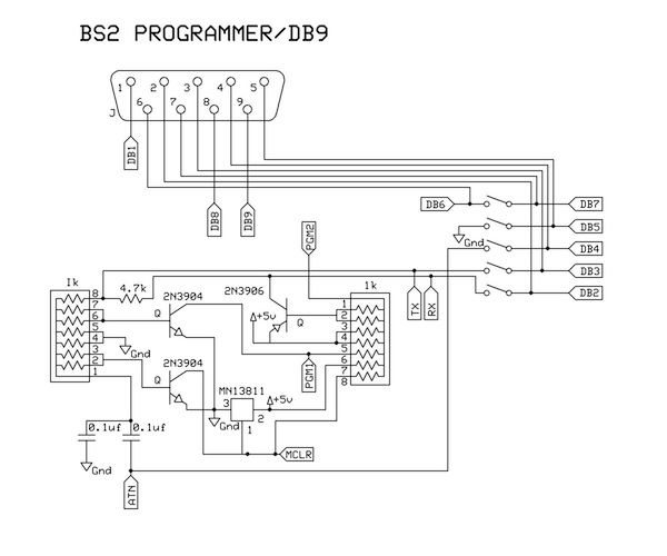 DB 9 Port With Switches To Enable Programming Of Basic Stamp Microcontrollers